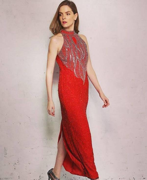 red vintage evening dress