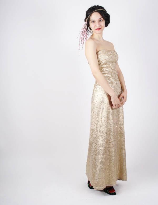strapless vintage beaded dress