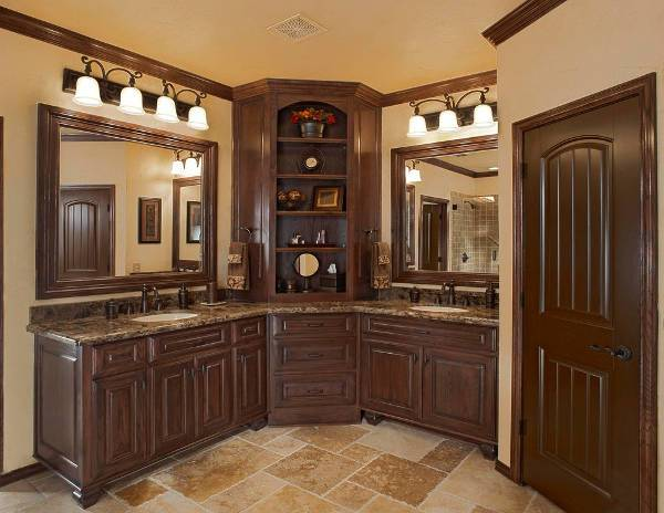 corner wooden bathroom cabinets