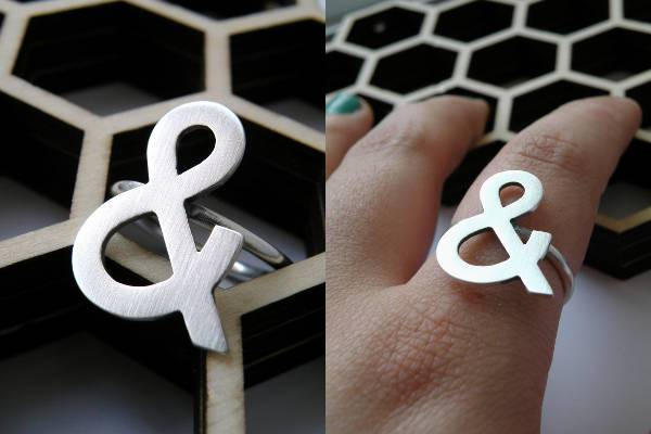 sterling silver ampersand ring