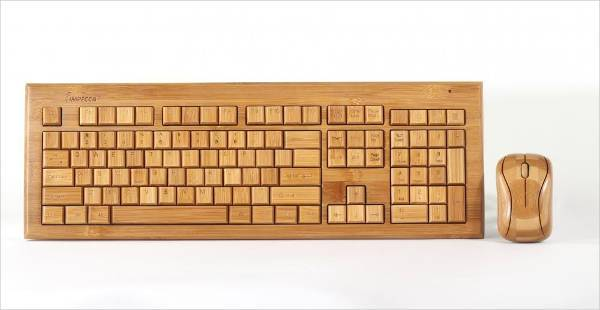 Bamboo Custom Carved Keyboard and Mouse