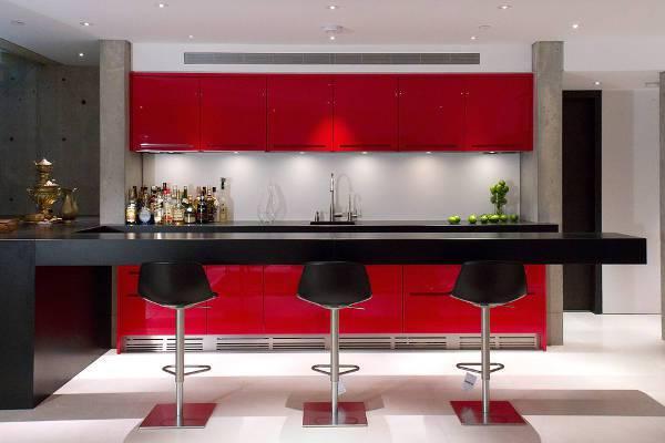 modern red bar cabinets