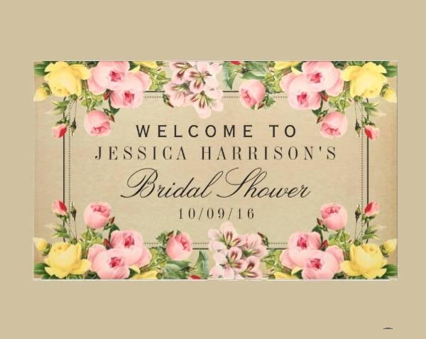 vintage floral bridal shower banner