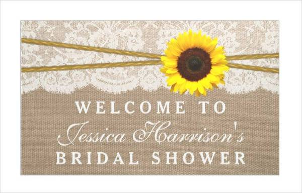 burlap and lace bridal shower banner