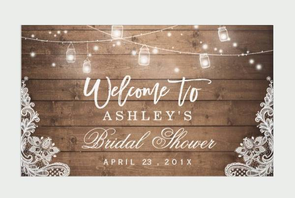 rustic wood and lace bridal shower banner