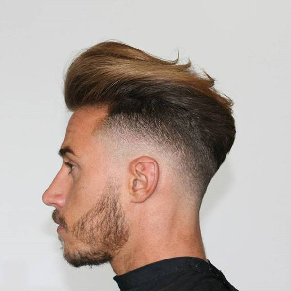 trendy long comb over fade haircut