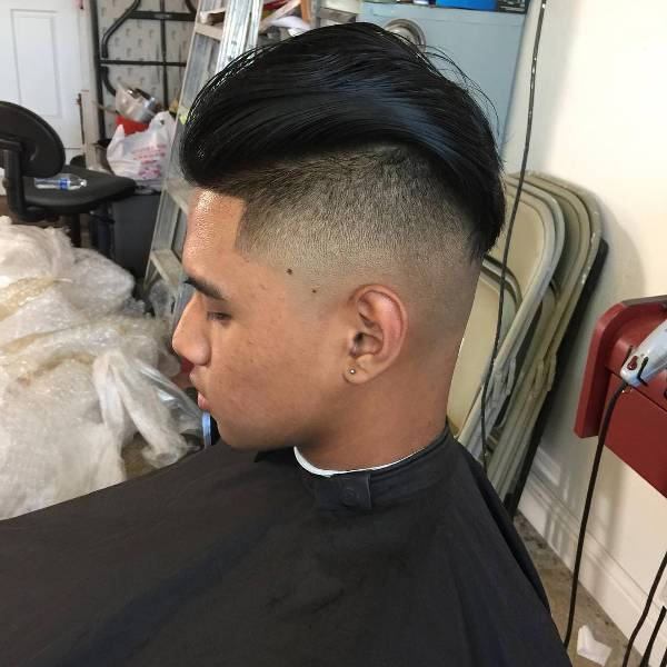 modern comb over skin fade hairstyle