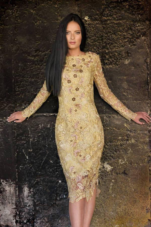 Long Sleeve Gold Lace Wedding Guest Dress