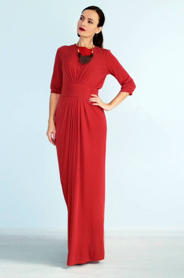 casual red wedding guest dress