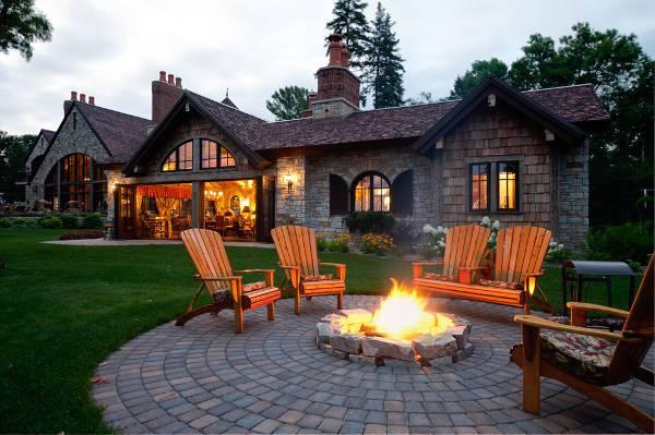 backyard stone firepit design