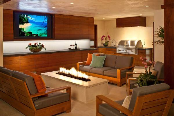 contemporary indoor fire pit