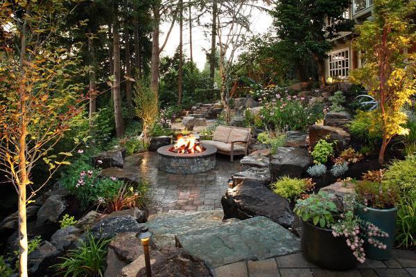 backyard landscape fire pit