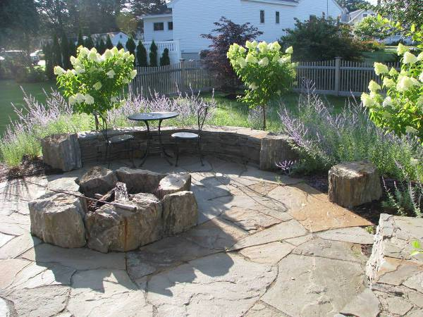 rustic stone fire pit design