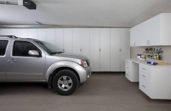 modern white garage cabinets