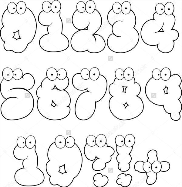 cartoon bubble number font