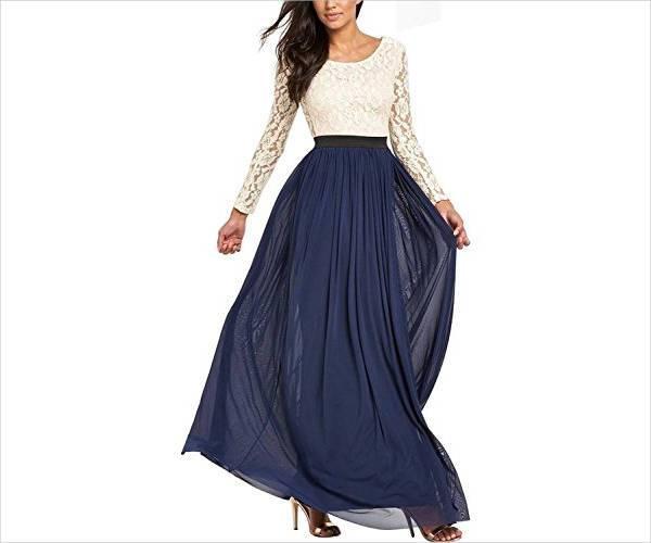 simple long sleeve evening dress