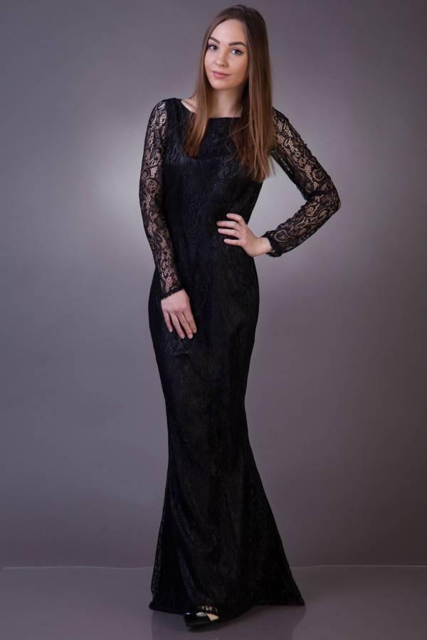 long black lace evening dress