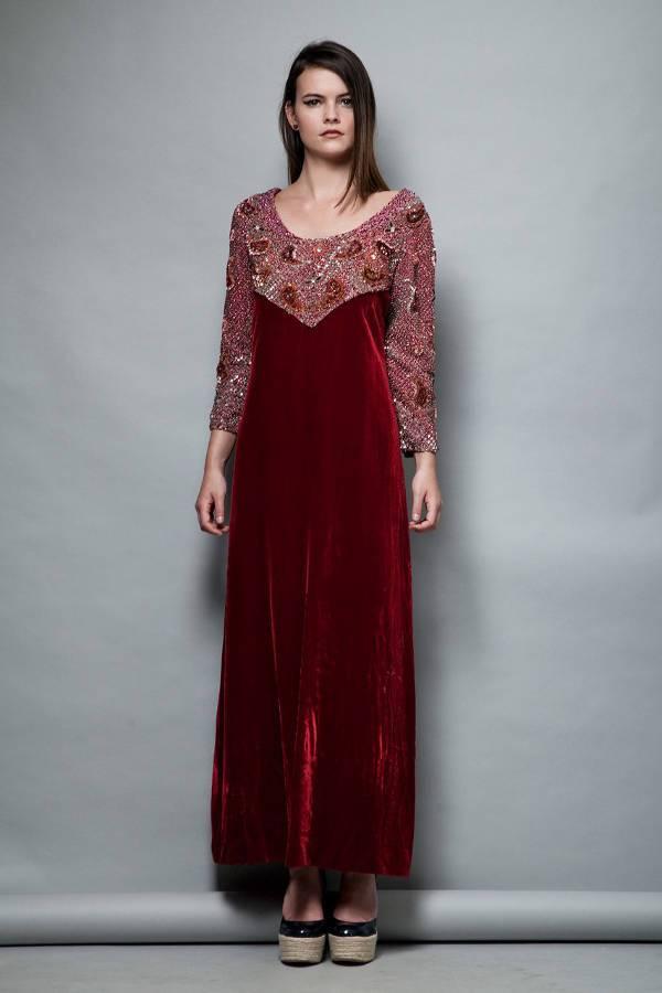 red velvet evening dress