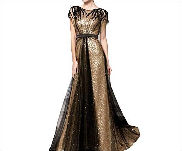 long sequin evening dress