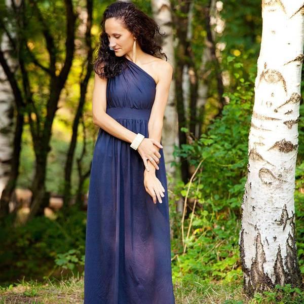 one shoulder beach evening dress