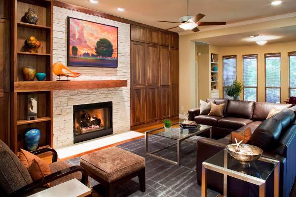 Contemporary Living Room Fireplace Mantel