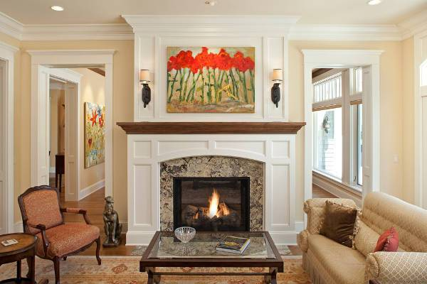 traditional country fireplace mantel