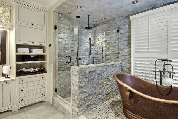 stacked stone shower design