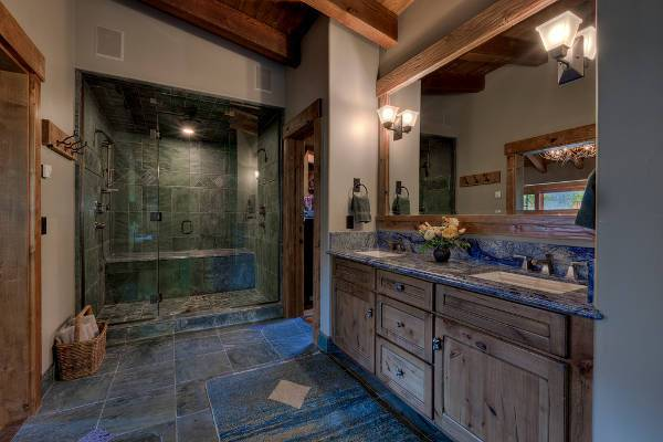 rustic shower lighting design
