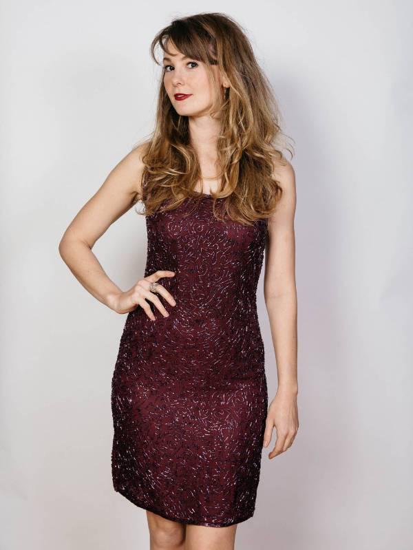 beaded short cocktail dress