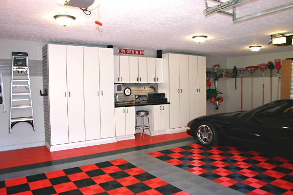 garage white cabinets design