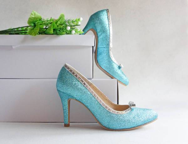 blue glitter wedding shoes