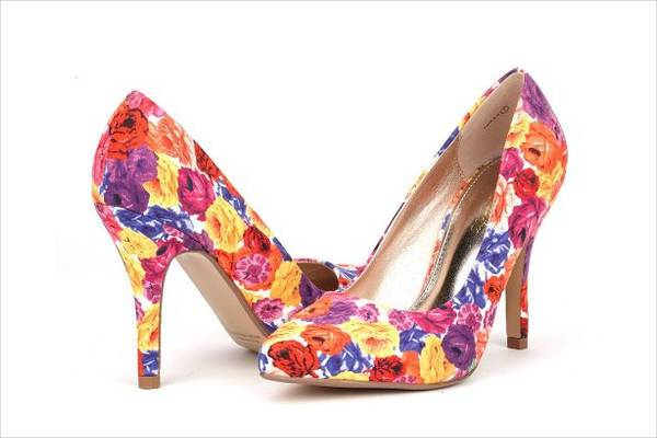 floral high heel wedding shoes