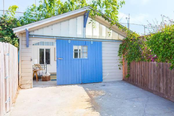 sliding blue garage door