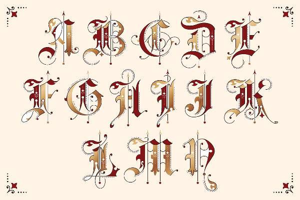 Gothic Ornamental Lettering Font