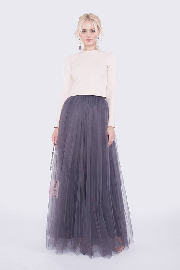 grey tulle maxi skirt
