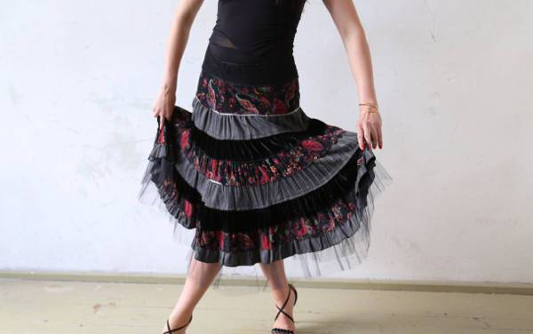 vintage black lace tulle skirt