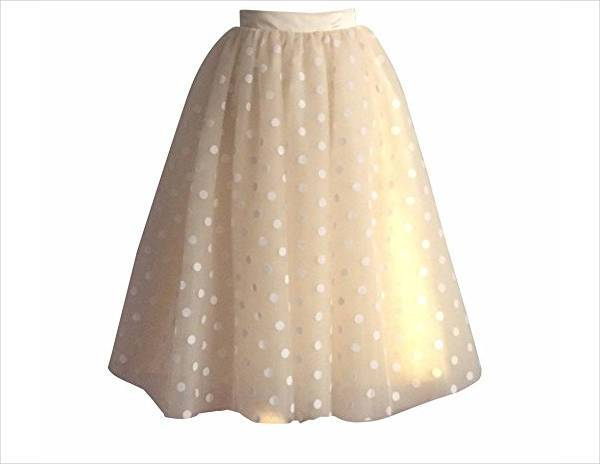 polka dot tulle knee length skirt