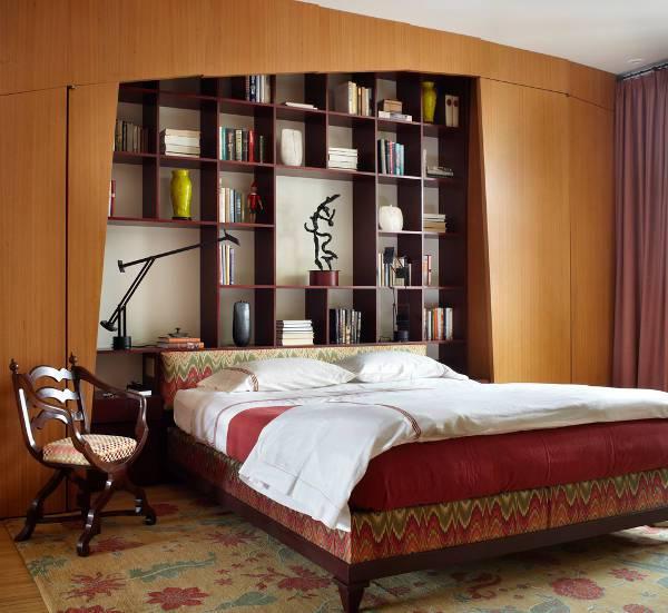 Contemporary Bookcase Headboard Design