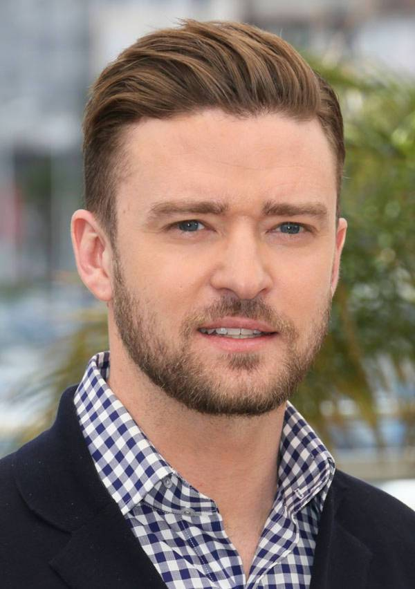 justin timberlake slicked back short haircut for men