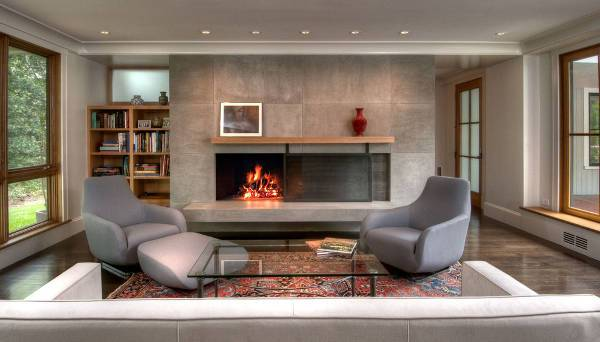 modern sliding fireplace door