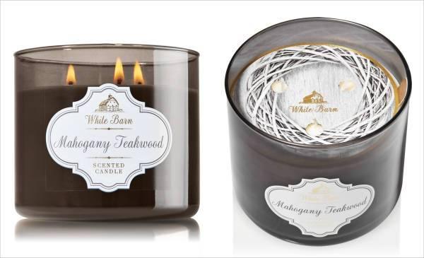 white barn mahogany teakwood 3 wick scented candle