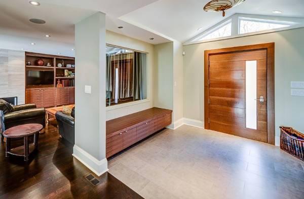 modern wood entryway bench