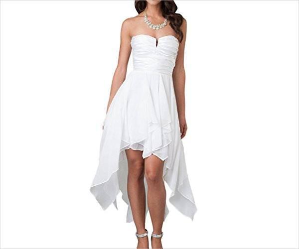 strapless short beach wedding dress