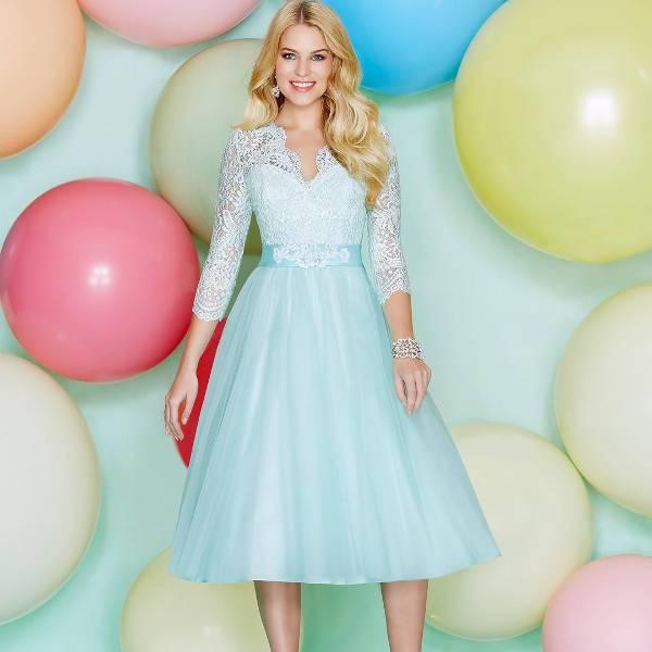 blue short casual wedding dress