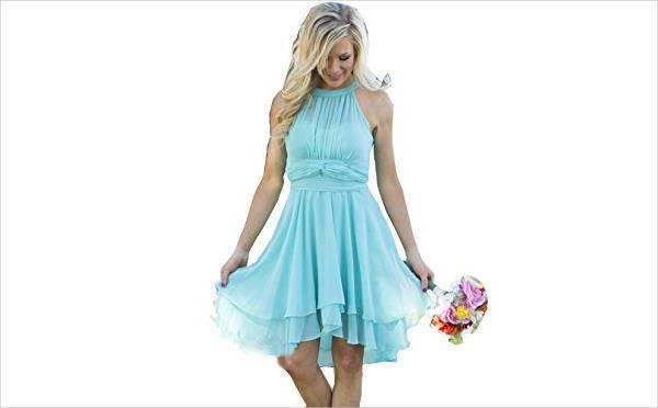 blue short halter wedding dress