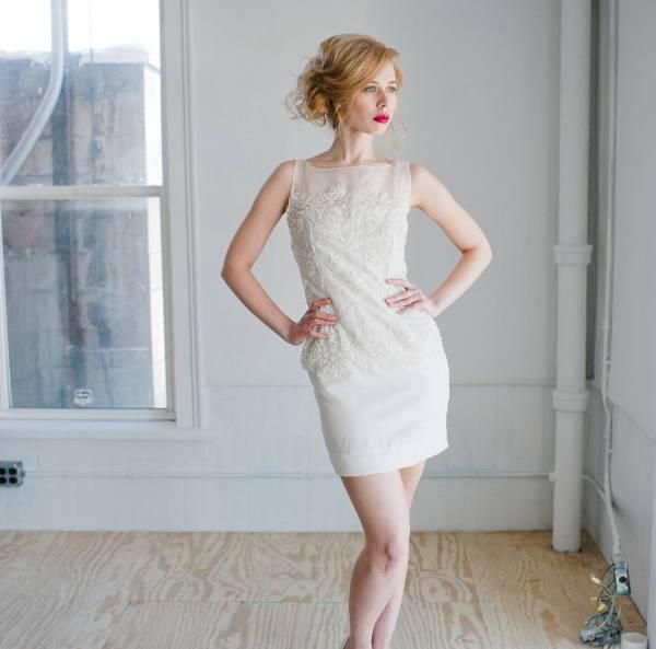 handmade short sheath wedding dress
