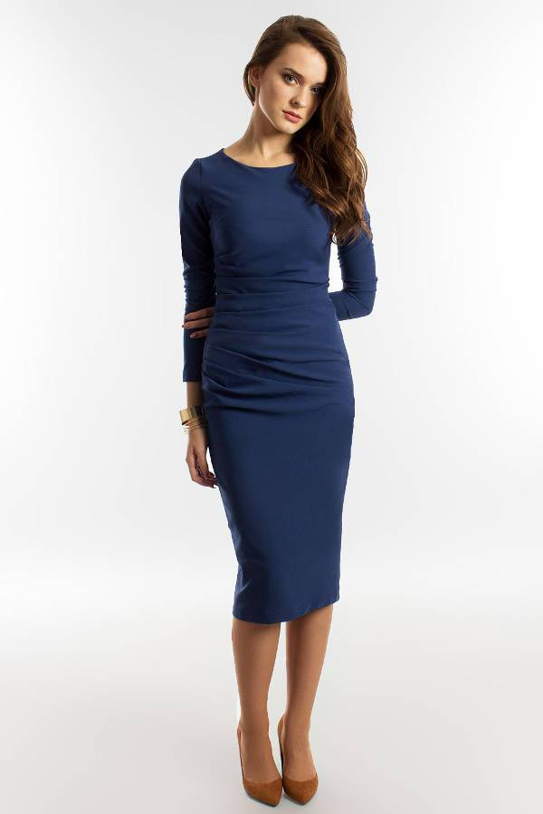 navy blue long sleeve party dress