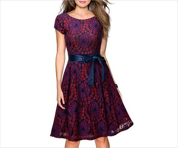 floral lace party dress
