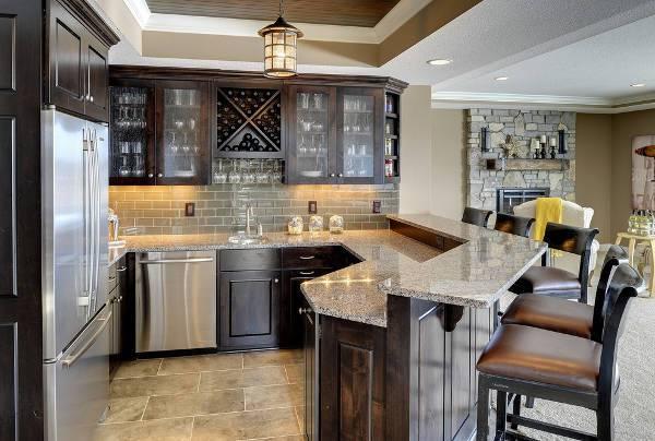 traditional home bar countertop