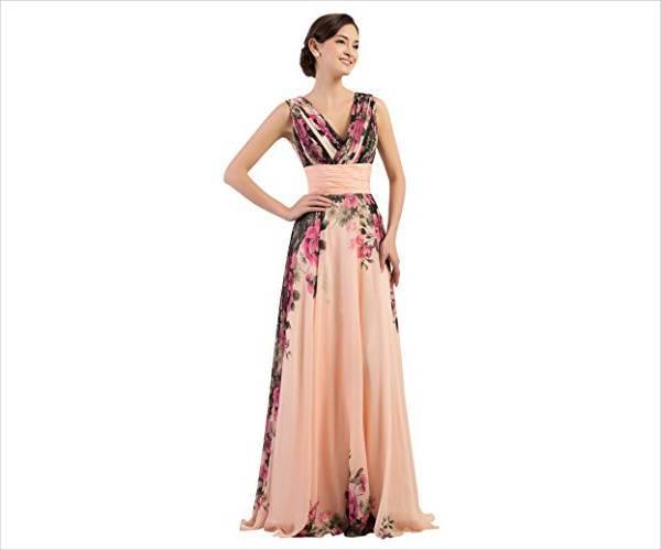 floral print bridesmaid dress